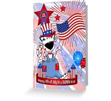 4th of July Cat Card for Kids Greeting Card