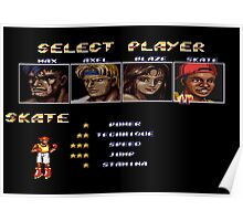 Streets of Rage 2 – Select Skate Poster