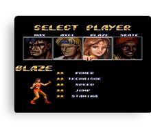 Streets of Rage 2 – Select Blaze Canvas Print