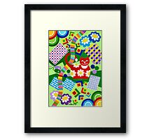 Color With Squares And A Red Cat - Brush And Gouache Framed Print