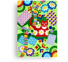 Color With Squares And A Red Cat - Brush And Gouache Canvas Print