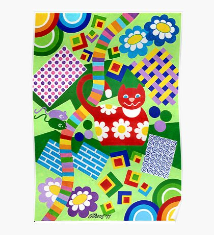 Color With Squares And A Red Cat - Brush And Gouache Poster