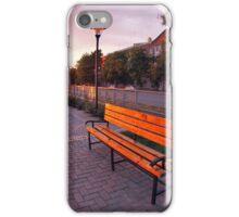 European urban sidewalk, benches and lanterns in the evening iPhone Case/Skin