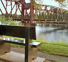 Bench overlooking BNSF RR Lift Bridge Prescott Wisconsin  by Diane Trummer Sullivan
