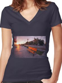 European urban sidewalk, benches and lanterns in the evening Women's Fitted V-Neck T-Shirt