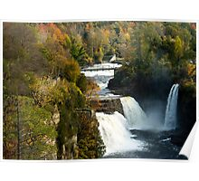 Three Watefalls at Ausable Chasm Autumn Poster
