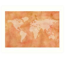 World map with abstract triangles Art Print
