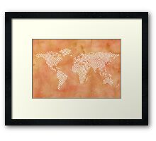 World map with abstract triangles Framed Print