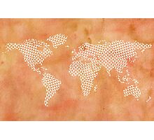 World map with abstract triangles Photographic Print