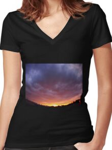 The sky with clouds over the city before sunset  Women's Fitted V-Neck T-Shirt