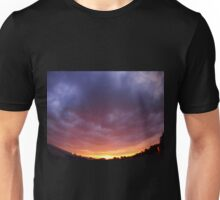 The sky with clouds over the city before sunset  Unisex T-Shirt
