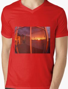 Cityscape at sunset, which is reflected in the window Mens V-Neck T-Shirt