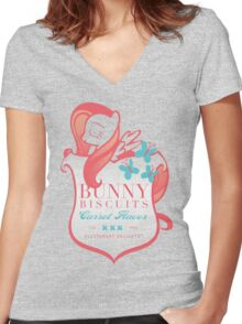 Fluttershy's Bunny Biscuits Women's Fitted V-Neck T-Shirt