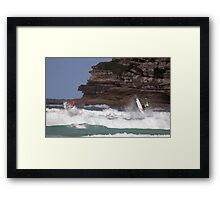 Kelly Slater & Jordy Smith Synchronised Airs  Framed Print