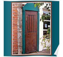 Door ~ Blue, Copper & brick Poster