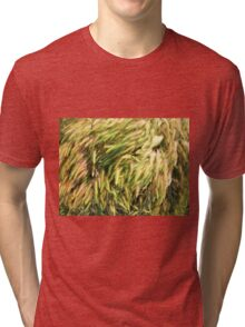 Top view on the dry grass of the lawn Tri-blend T-Shirt
