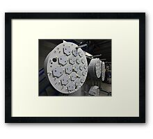 production of large LED lamps in the factory Framed Print