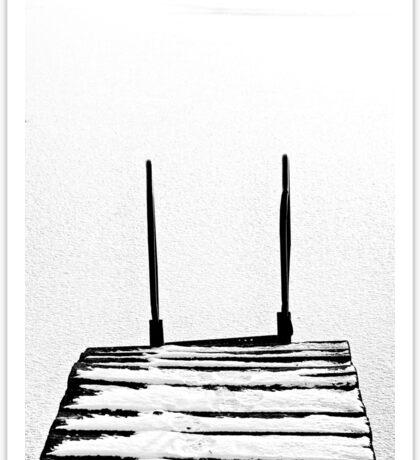footbridge in frozen lake #5 Sticker