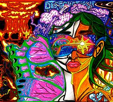 'Behind Me Destruction, Before Me Building--Reflections of My Future ~ Vibrant' Pieces Art™ by Kayla Napua Kong