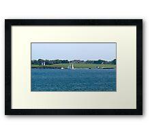 Schooner passes Hammersmith Farm. Newport, Rhode Island Framed Print