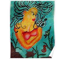 Mermaid #2, watercolor Poster
