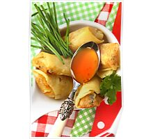 Asian Fingerfood With Sharp And Fruity Sauce Poster