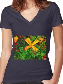 Large yellow and orange flowers close up Women's Fitted V-Neck T-Shirt