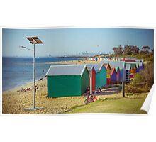 The Long View of the Brighton Bath Huts - Brighton, Victoria Poster