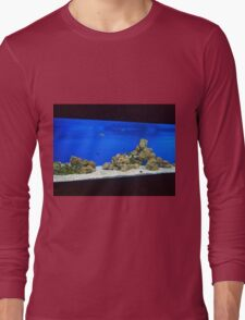 Large and long aquarium with sea water blue Long Sleeve T-Shirt