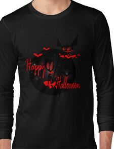 happy halloween horror fantasy vector art Long Sleeve T-Shirt