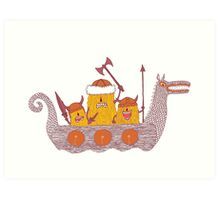 Viking Party Animals in a  Dragon Boat Art Print
