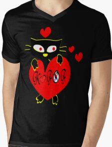 Black kitty love KPOP vector  art Mens V-Neck T-Shirt
