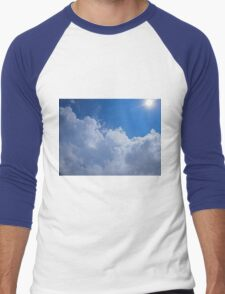 Dark clouds, blue sky and bright sun Men's Baseball ¾ T-Shirt