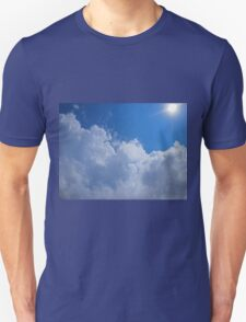 Dark clouds, blue sky and bright sun T-Shirt