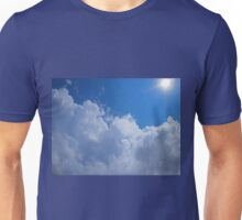 Dark clouds, blue sky and bright sun Unisex T-Shirt