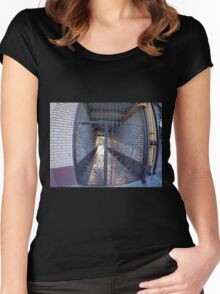 The entrance to the apartment building Women's Fitted Scoop T-Shirt