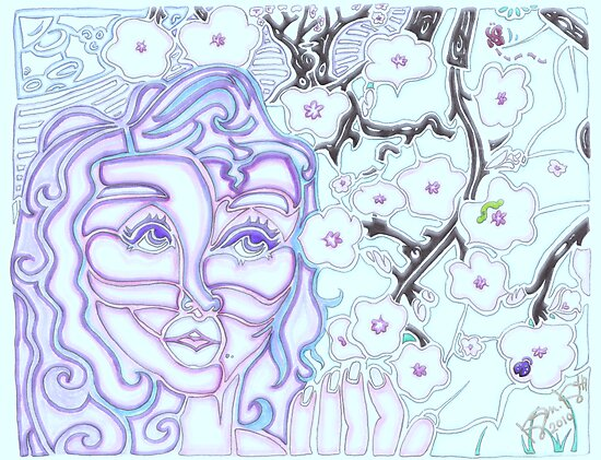 'Alight with Blossom ~ In the Glow of the Moon's Night' Pieces Art™ by Kayla Napua Kong