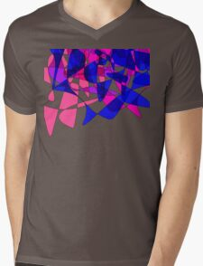 Colorful Modern Abstract Swirly Graphic Mens V-Neck T-Shirt