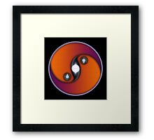 Yin Yang Sun OV On Black Background Framed Print