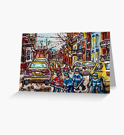 HOCKEY TOWN MONTREAL HOCKEY PAINTINGS ORIGINAL PAINTING FOR SALE Greeting Card
