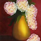 White Hydrangeas in a Golden Vase by Maria  Williams