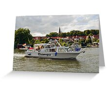 MVP103 Boating through Malchow, Germany. Greeting Card
