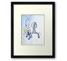 Trot in Blue Framed Print