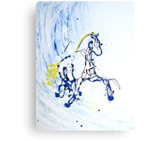 Trot in Blue Canvas Print