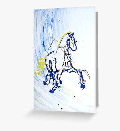 Trot in Blue Greeting Card