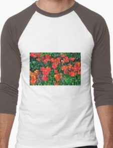Abstract Tulips Men's Baseball ¾ T-Shirt