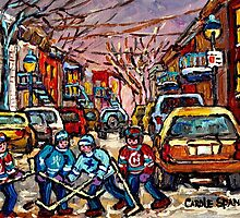 MONTREAL HOCKEY PAINTINGS  BOYS PLAYING STREET HOCKEY by Carole  Spandau
