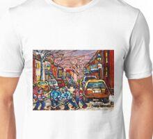 MONTREAL HOCKEY PAINTINGS  BOYS PLAYING STREET HOCKEY Unisex T-Shirt
