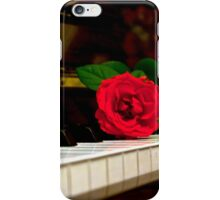 ROMANTIC RED ROSE FLOWER ON PIANO iPhone Case/Skin