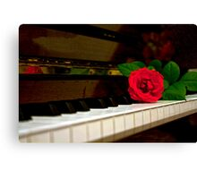 ROMANTIC RED ROSE FLOWER ON PIANO Canvas Print